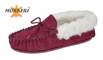 Ladies Real Suede Leather Moccasin Wool Lining  Hard-wearing Sole  CRIMSON